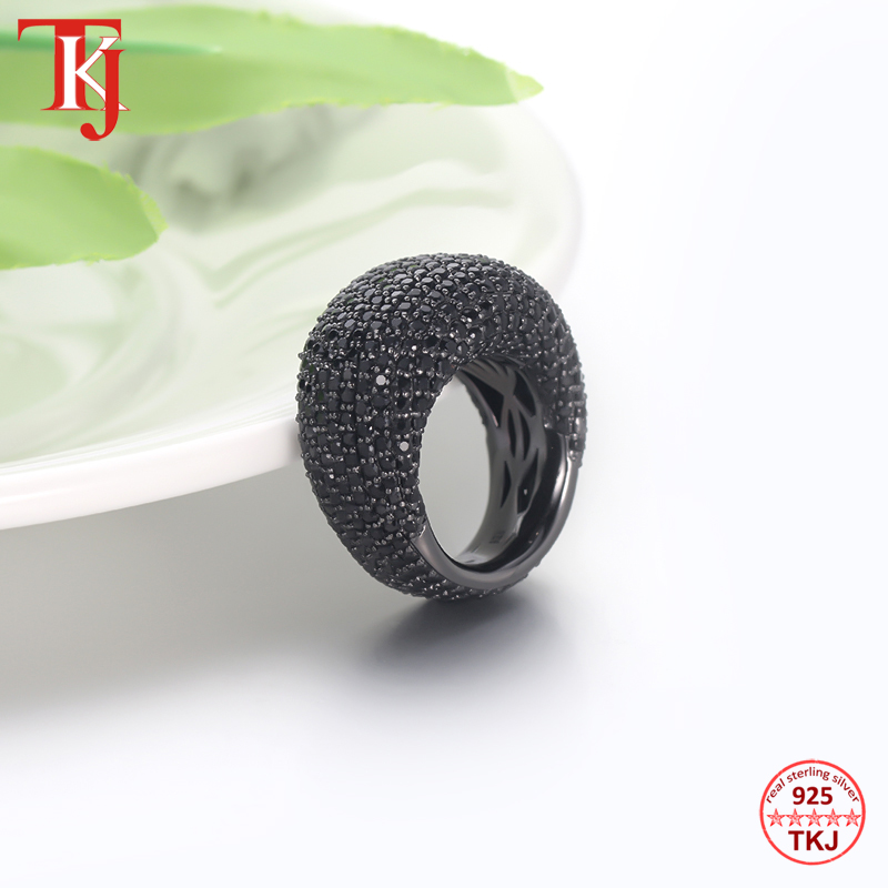 TKJ Natural Black Spinel Ring Female Real 925 Sterling Silver Gemstone Rings For Women Round Wedding Engagement Jewelry Gift