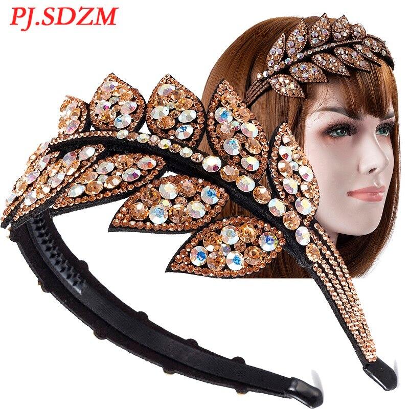 Luxury Delicate Women Hair Accessories with Teeth Leaf Fashion Full Crystal Girl Hairband Rhinestone Female Hairwear FS0045