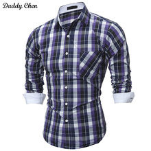 Casual dress shirt men slim fit style plaid yellow white male for boys shirts mens long sleeve designer Fashion Hawaiian camisa