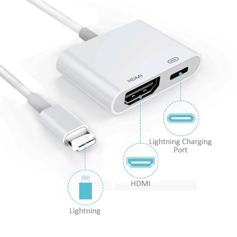 Pour iPad vers HDMI adaptateur pour Lightning vers numérique AV HDMI 4 K USB connecteur de câble 1080 P adaptateurs HD pour Iphone X 8/7/6/Ipad Air