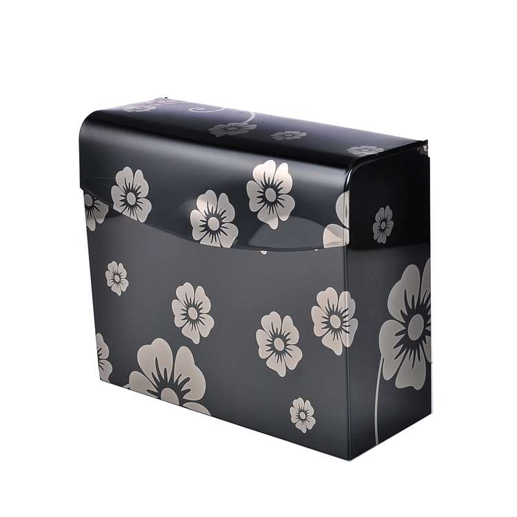 Black Plum Flower Pattern Toilet Paper Box Stainless Steel Paper Holder Bathroom  Accessories(China)