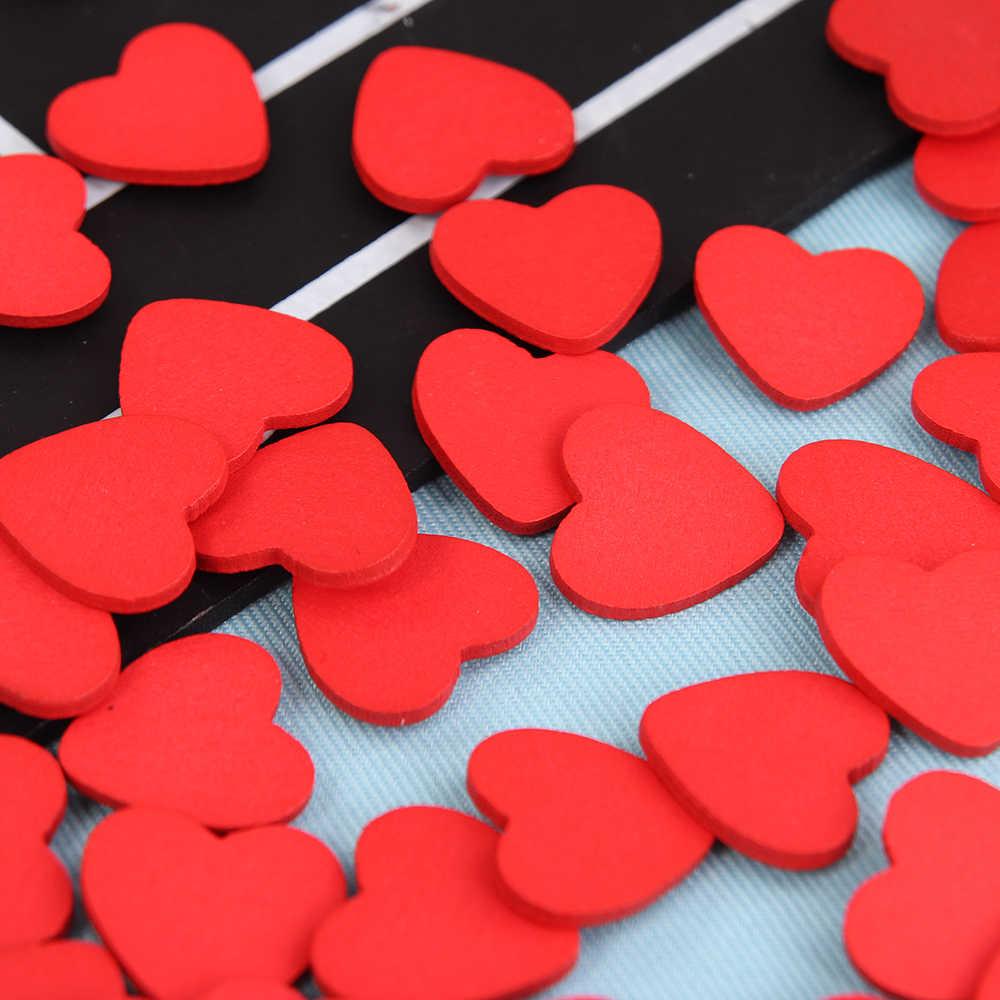 100 PCS/Lot Mini Wooden Red Love Heart Sponge Stickers Del Fridge / Wall Sticker Children Scrapbooking Baby Toys