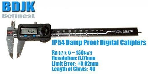 0~150mm IP54 Damp Proof Digital Vernier Caliper / Measuring Tool / Instrument with 0.02mm Limit Error 0 300mm high precision digital vernier caliper measuring tool instrument with 0 025mm limit error