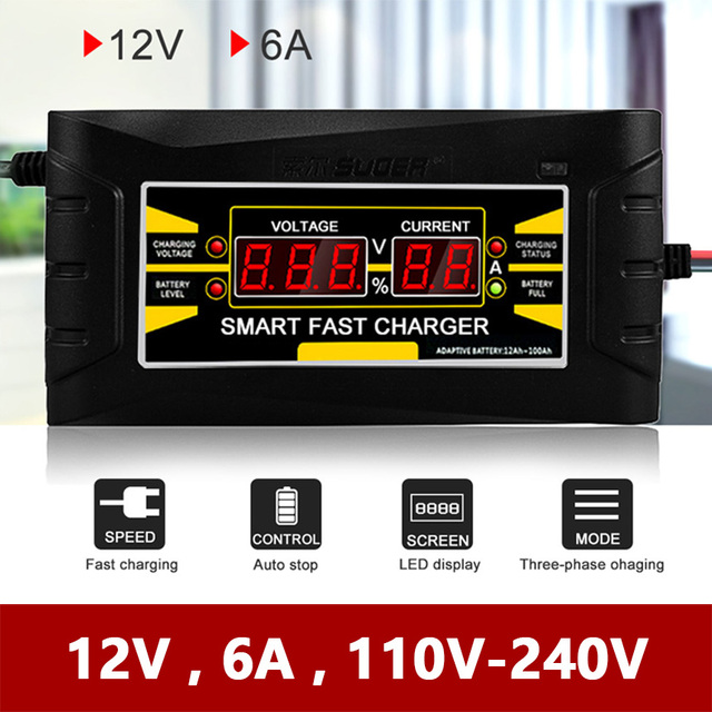 Smart Fast Car Motorcycle Battery Charger 12V 6A Full Automatic LCD Display Voltage Current 12 Volt 6 AMP Lead-acid Power Charge