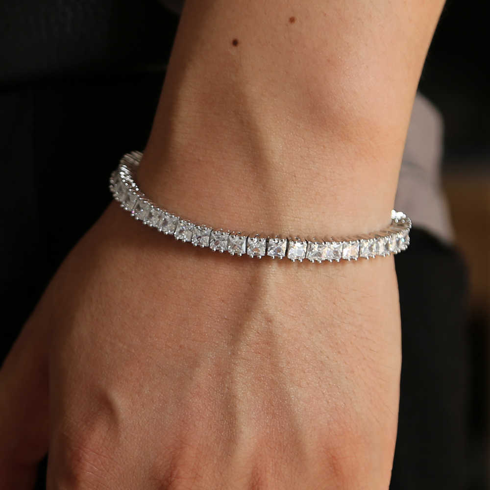 Bling Bling Cz Paved Tennis Chain Bracelet Bangle For Women Mens Hip Hop Bracelet Jewelry With Rhodium Plated Wholesale Jewelry Aliexpress