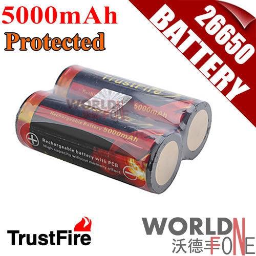 Genuine Original Trustfire 26650 Protected 5000mAh 3.7V Li-ion Rechargeable Battery 2PCS/LOT