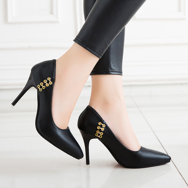 774a47e3c39 Size 34-40 Plus Size 2018 New Women Sexy Black Formal Pumps High Heels Dress  Shoes Woman Spring Office Ladies Metal Footwear