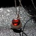 2017 new Natural semi-precious stones 925 silver Korean style version women red Fashion Necklace garnet Pendant girlfriend gift