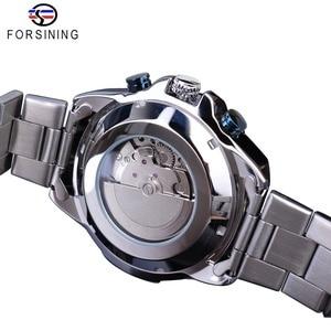 Image 4 - Forsining Blue Ocean Design Silver Steel 3 Dial Calendar Display Mens Automatic Mechanical Sport Wrist Watches Top Brand Luxury