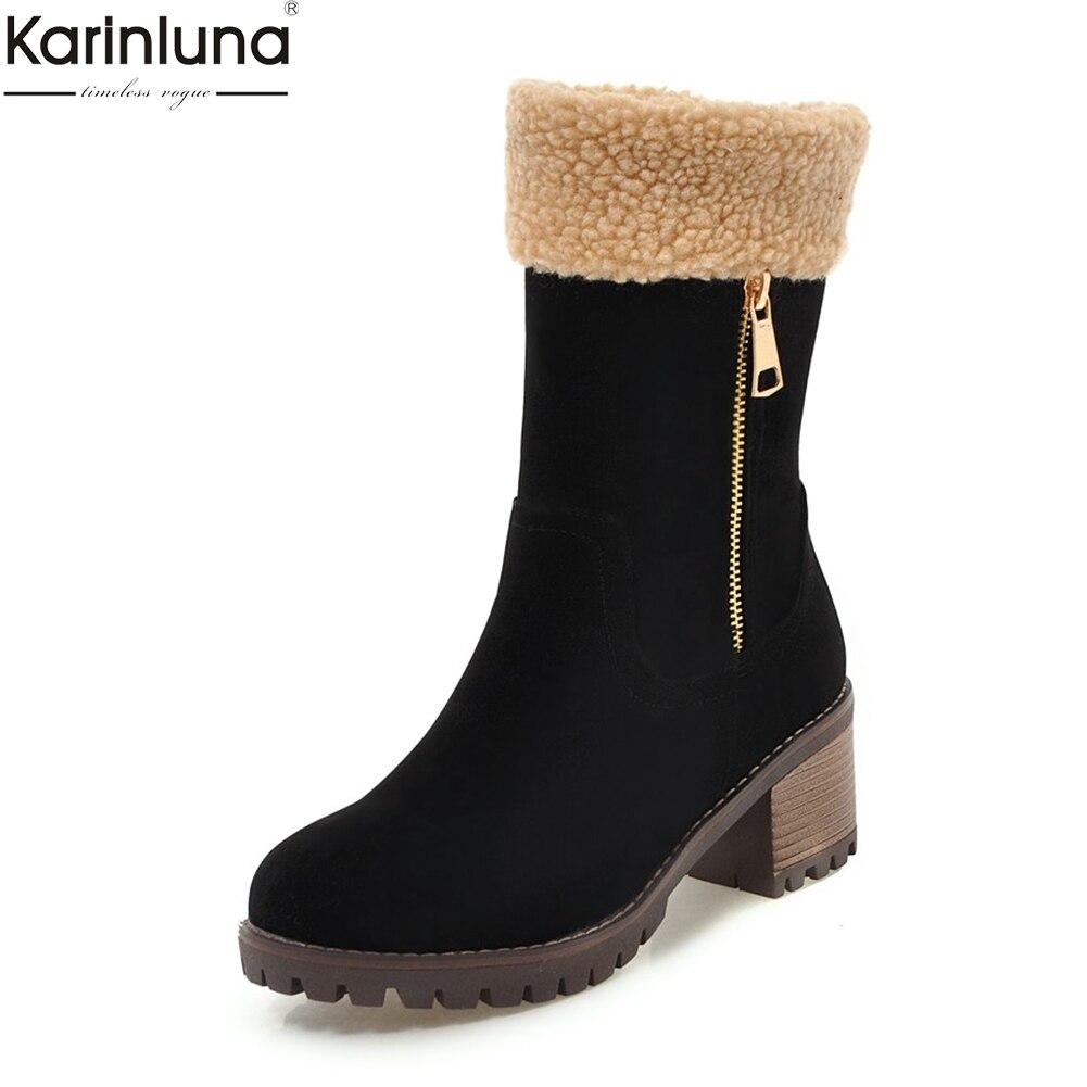 Karinluna New Arrivals Dropship Large Size 34 43 russia winter warm plush snow Boots Woman Shoes Platform Shoes Boots Woman