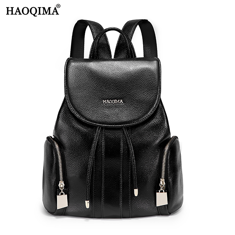 HAOQIMA Genuine Leather Backpacks For Girls Teenagers Real Cowhide Women Backpack School Bags joyir genuine leather women backpack vintage school bags for teenagers girls female backpacks women travel bags 2018 brand 8664