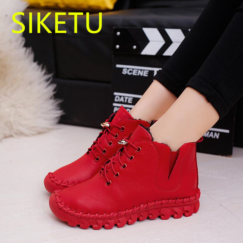 SIKETU women boots Free shipping 2017 Autumn and winter Knee riding boots fashion Snow Martin boots casual shoes m041 Non-slip