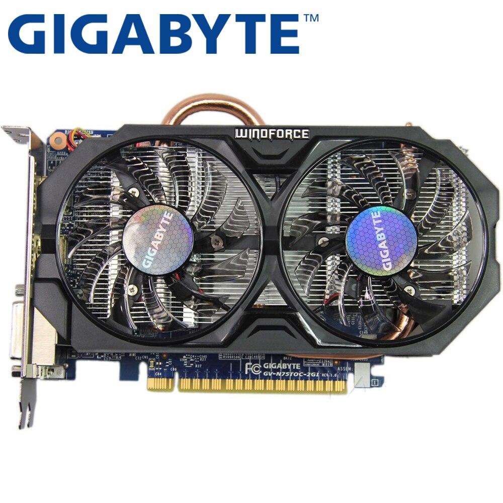 Tarjeta de video gigabyte original GTX 750ti 2 GB 128bit GDDR5 Tarjetas gráficas para NVIDIA Geforce GTX750ti HDMI DVI VGA utiliza tarjetas