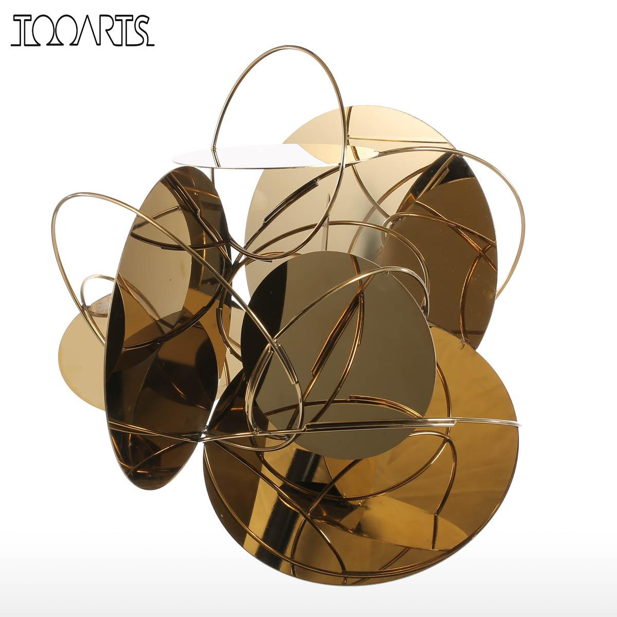 Tooarts Golden <font><b>Mirror</b></font> Modern Figurines Home Decor Abstract Crafts Ornament Metal Sculpture Interior Home Decoration Accessories