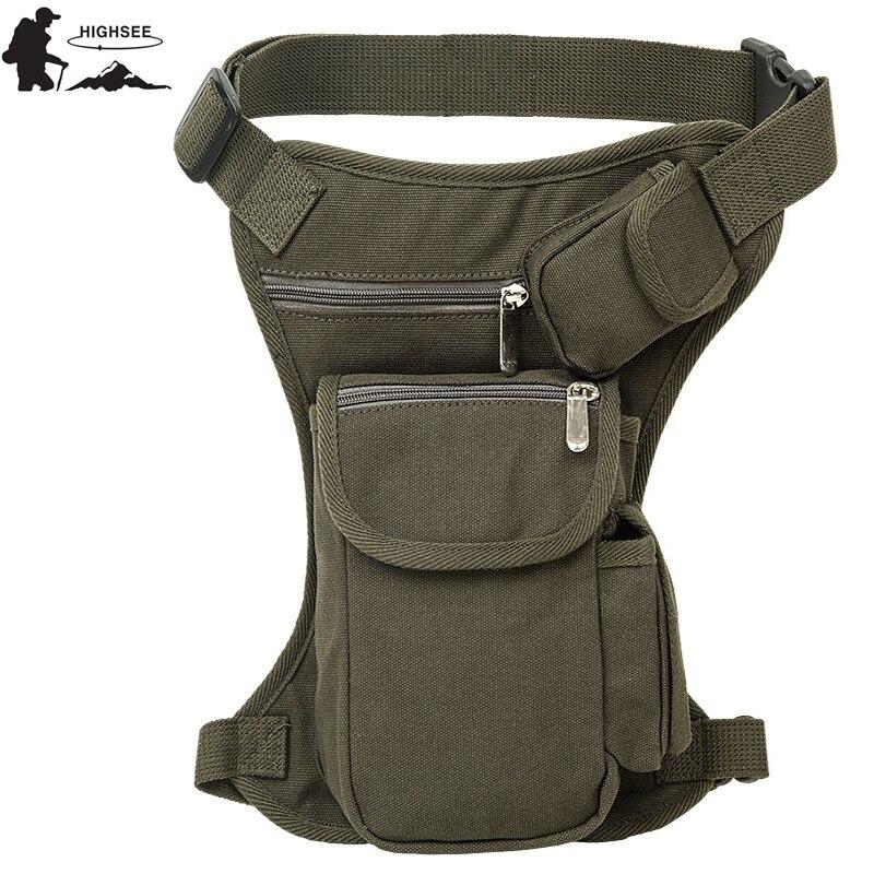 HIGHSEE Men Outdoor Canvas Waist Bags Drop Leg Pack Belt Bag Tactical Sport Military Travel Motorcycle Riding Pack Shoulder Bags drop shoulder plain coat with belt