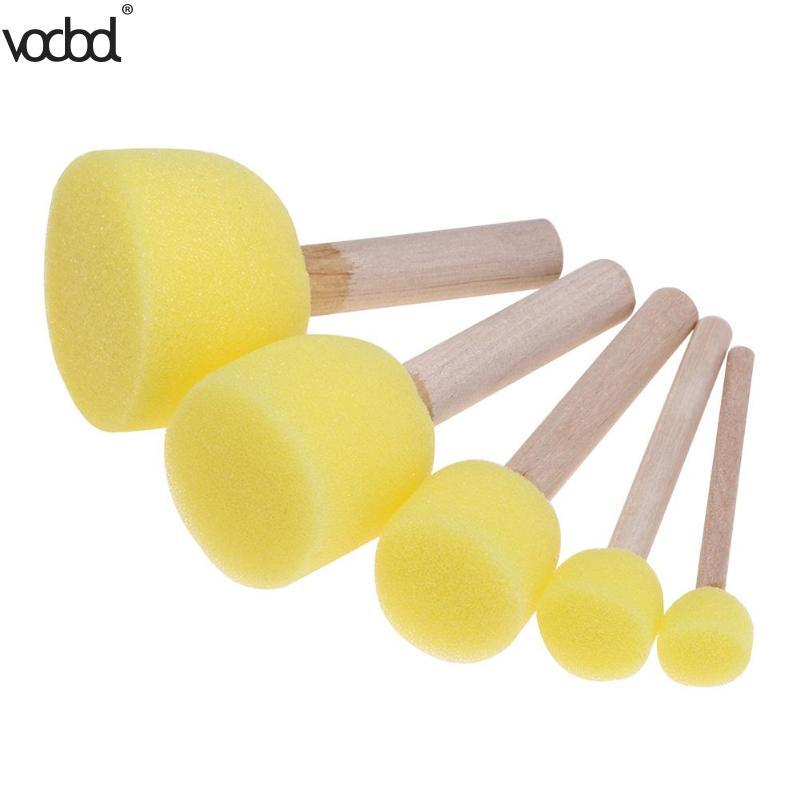 5Pcs/set Sponge Paint Brushes Toys Wooden Handle Seal Sponge Brushes Kids Children Drawing Painting Graffiti Brush School Supply