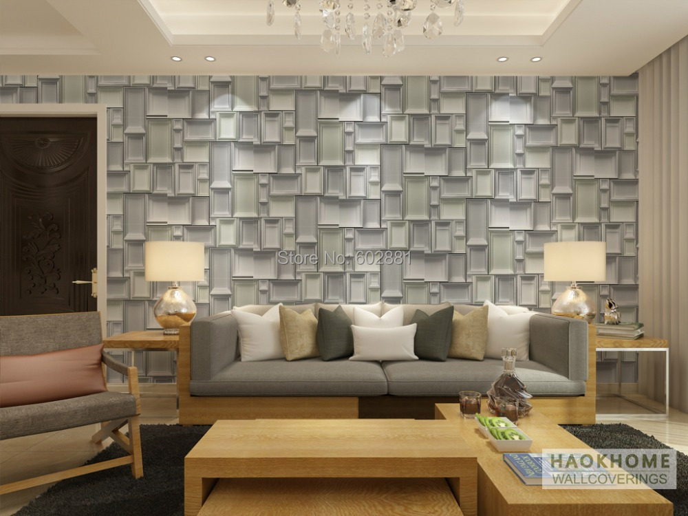 aliexpresscom buy 6255 wood frame box designer wallpaper roll abstract geometric home wall papergrey wallcovering w053ml10mroll from reliable paper - Wall Covering Designs