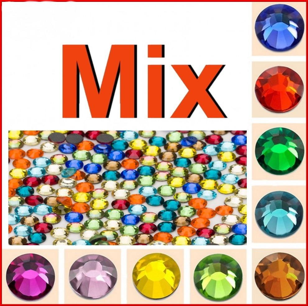 Най-високо качество! SS 6 10 16 20 30 Смесен размер Цветен кристал DMC Flatback Hot Fix Rhinestone камъни бижута жени сватба DIY дрехи