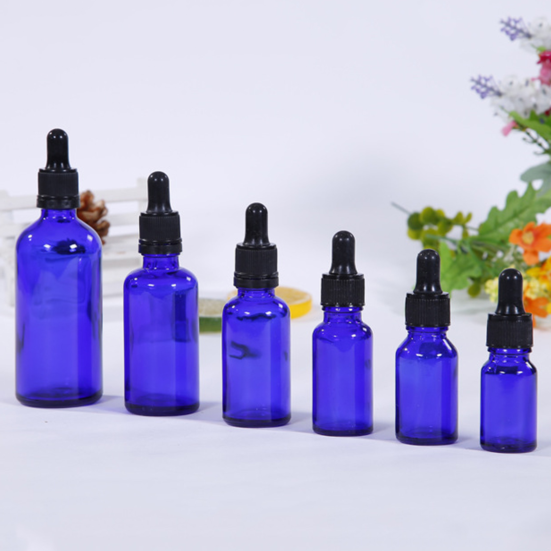 5/10/15/20/30/50/100ml Blue Glass Liquid Reagent Pipette Bottle With Eye Dropper Drop Aromatherapy Oil Spray Refillable Bottles