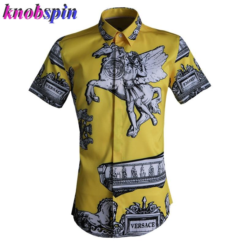 Roma Style Print Shirt Men 2019 Fashion Short Sleeve Slim Casual Chemise Homme High Quality Business Men Shirts Camisa Plus Size