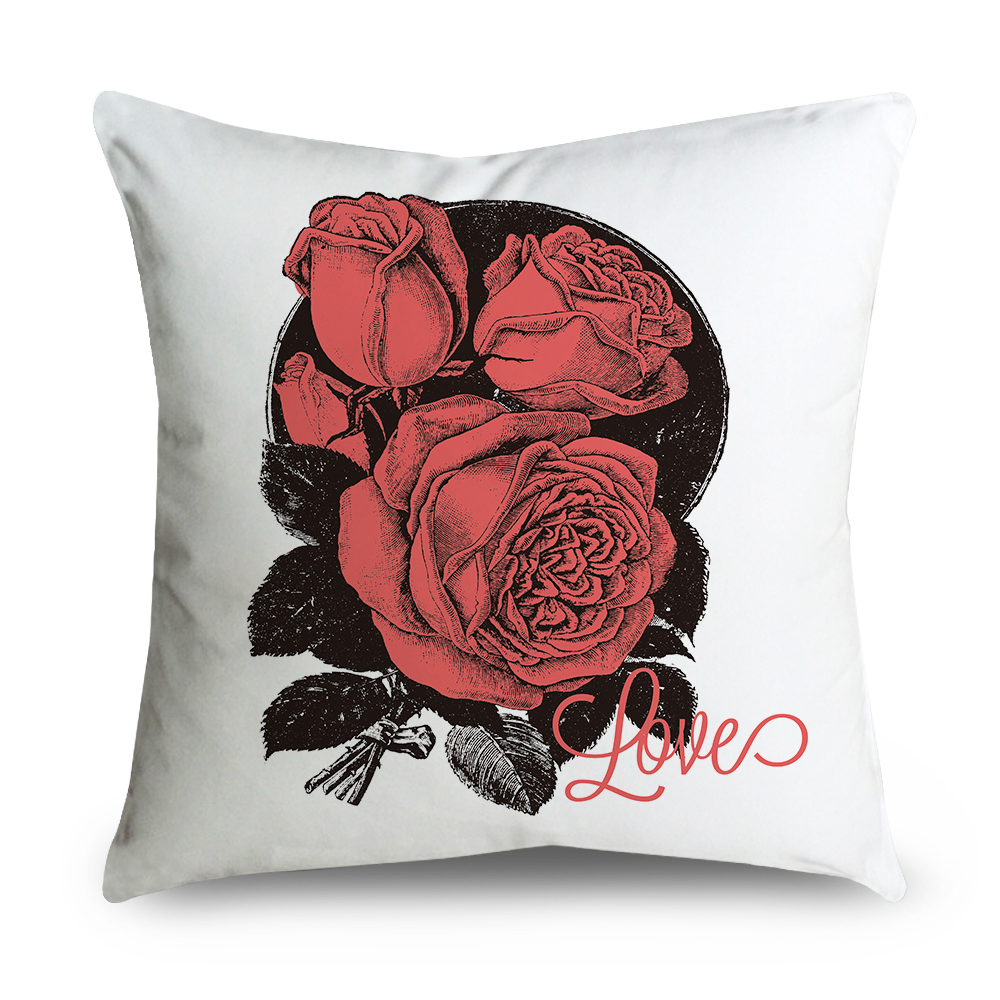 Big Rose Flower Cushion Cover Floral And Love Pillow Casesofa