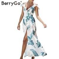 BerryGo Backless Ruffles Split Print Long Summer Dress High Waist Sashes Short Sleeve Maxi Dress Summer