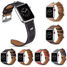 Rivet Band for Apple Watch 3 Leather Band 42mm/38mm iWatch 3 2 1 Wrist Belt Genuine Leather Bracelet Strap 6 Colors(China)
