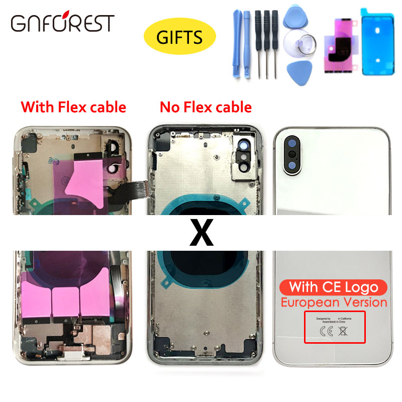 Housing-Case Chassis iPhone X Parts Battery-Cover Back-Glass-Replacement for with Apple