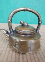TOP collection # Home OFFICE Decor art good Vintage CHINA bamboo sculpture ART bronze teapot mini pot FREE SHIPPING