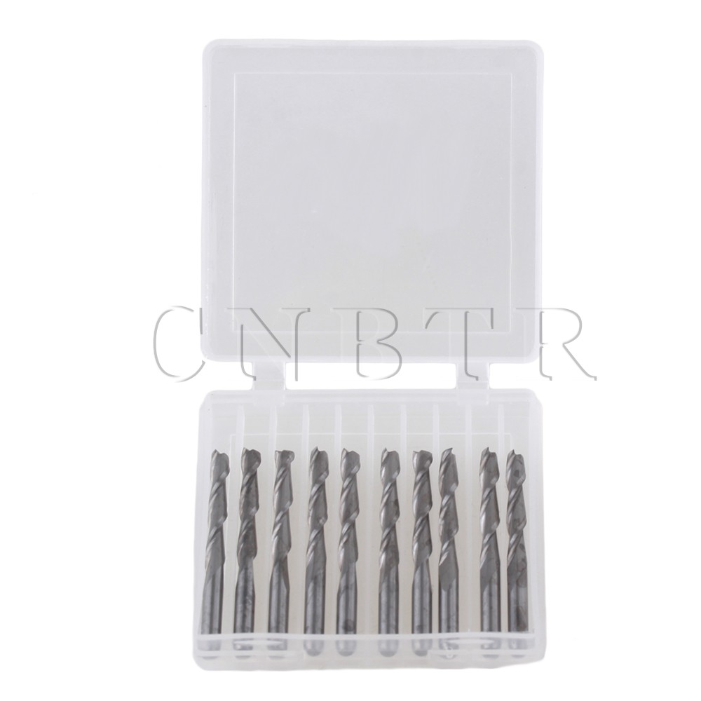Dual Flute Spiral Cutter 3.175x22mm CNC Router Bits Wood Acrylic Drill Set Of 10
