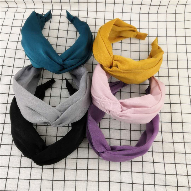 Solid Color Top Cross Knotted Wide side Headband Hairband Women Girls Fabric Hair Head Hoop Bands Accessories   Headwear   Headdress
