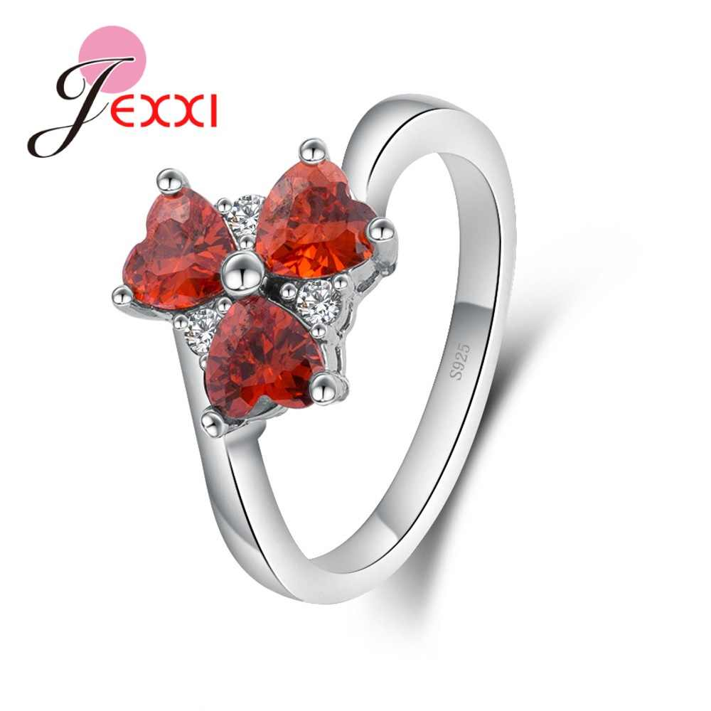 Great Lovely Three Red Heart Cubic Zirconia Good Quality 925 Sterling Silver Rings Simple Cute Birthday Gifts For Women
