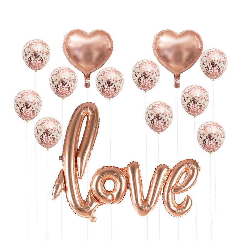 Rose Gold Wedding Birthday Party Balloons Happy Birthday Letter Foil Balloon Baby Shower Anniversary Event Party Decor Supplies 3
