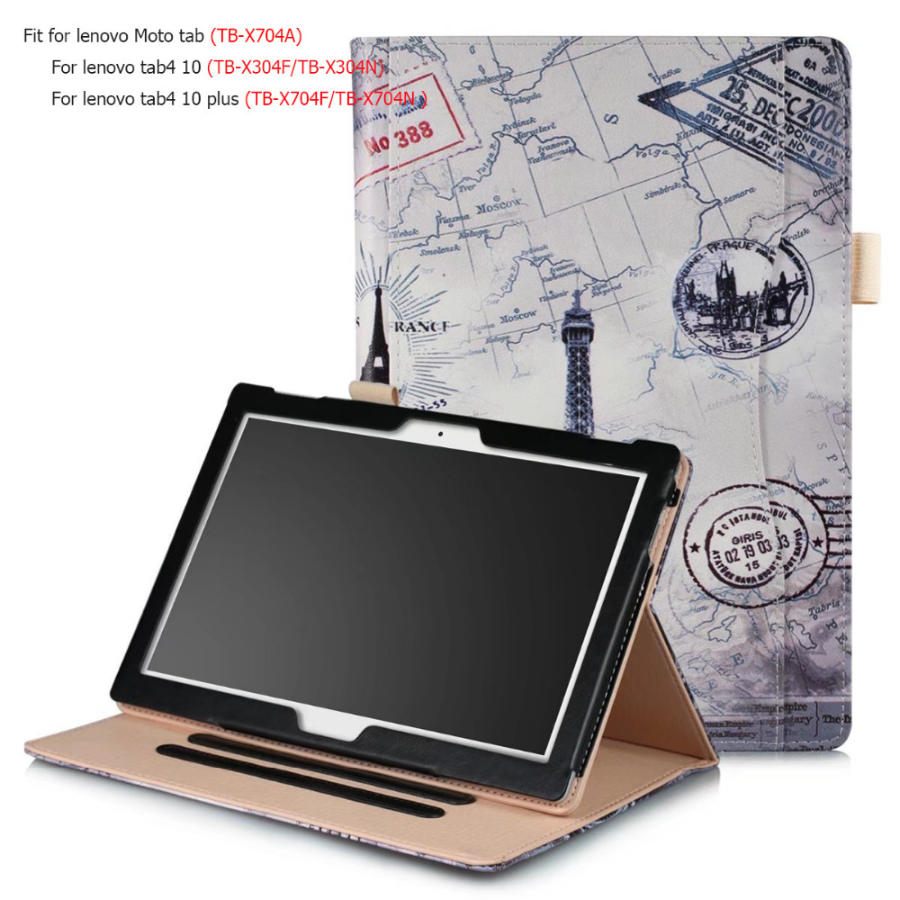 Luxury Business Case For Lenovo moto Tab TB-X704A Smart Cover 10.1'' Tablet Case For Lenovo TAB4 10 10 plus TB-X704F TB-X304F/N ultra thin smart flip pu leather cover for lenovo tab 2 a10 30 70f x30f x30m 10 1 tablet case screen protector stylus pen