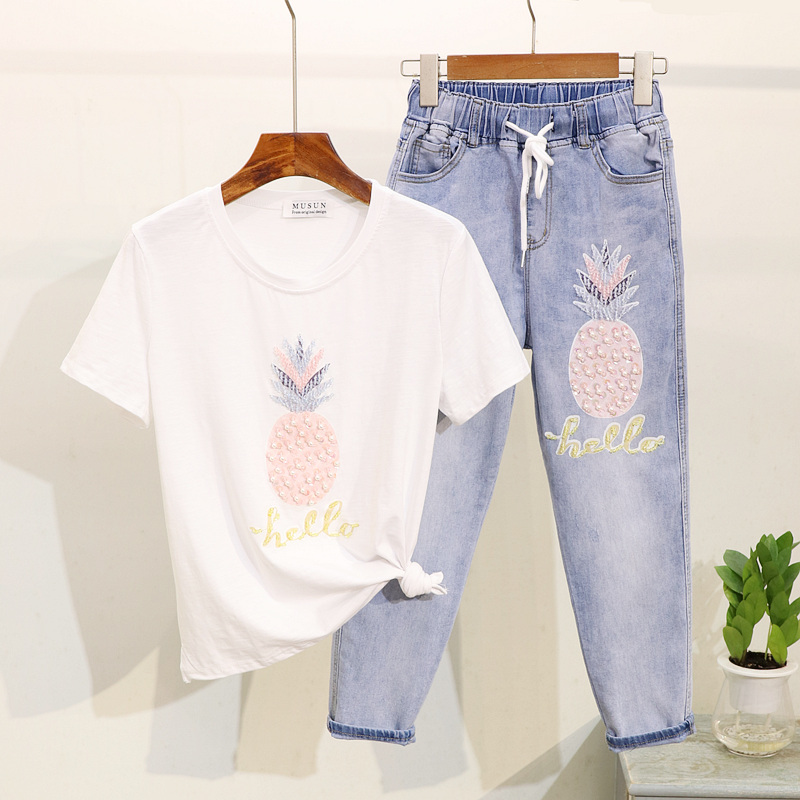 Yipn.igacoyou 2019 Summer Korean Style Two Piece Outfits Beaded Short Sleeve 2PCS