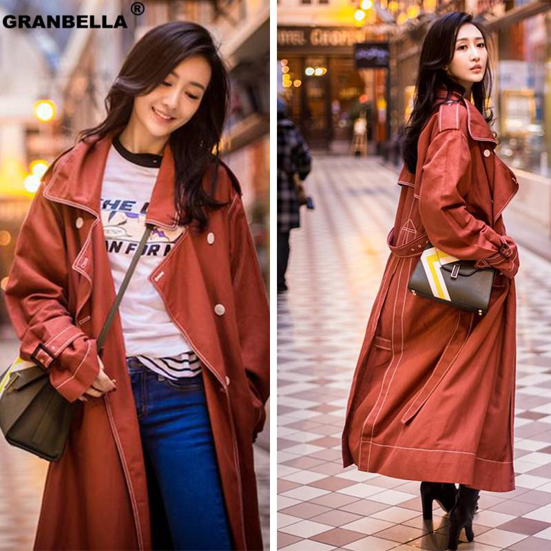 Trendy Coral Color Office Ladies Elegant Long   Trench   Coat High Quality Sashes Double Breasted Windbreaker Outwear coupe-vent
