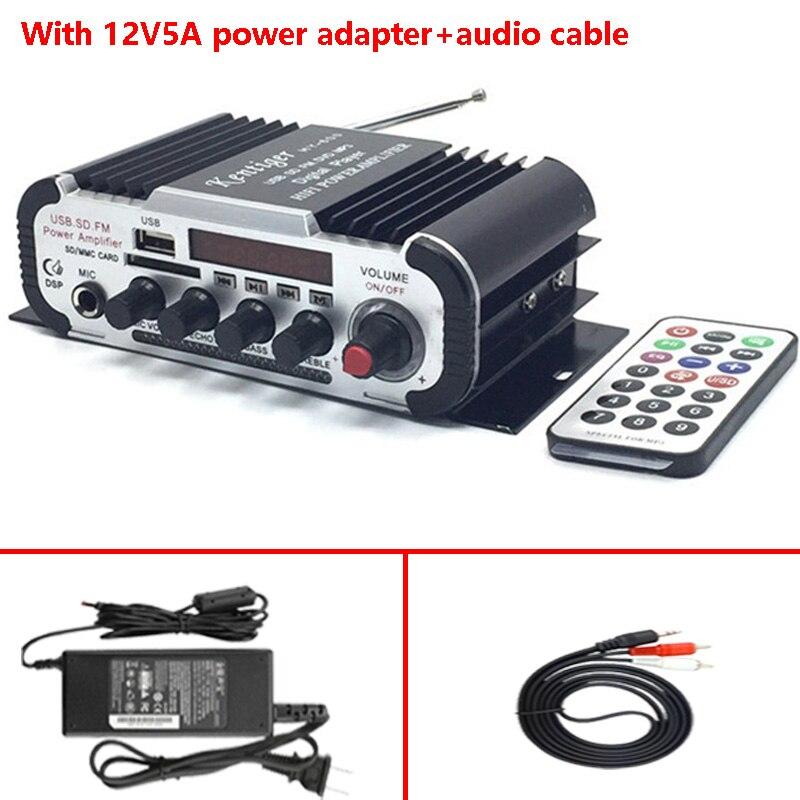 Avec 12V5A Puissance Adaptateur + Câble Audio Kentiger HY-600 FM IR Contrôle Amplificateur 6.5mm MIC En USB SD Lecteur amplificador
