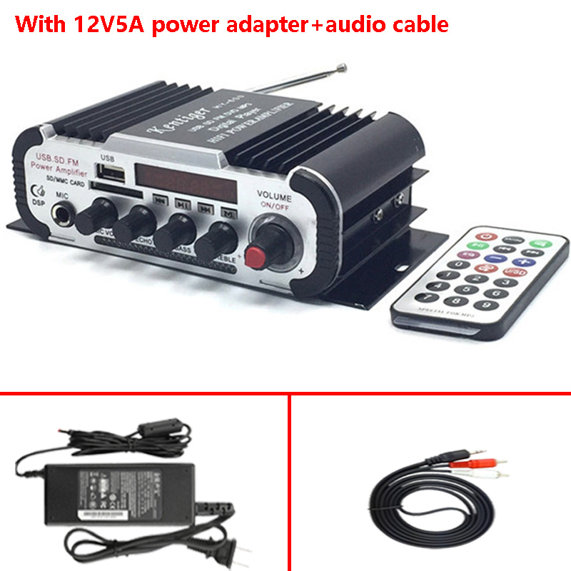 With 12V5A Power Adapter+Audio Cable Kentiger HY-600 FM IR Control Amplifier 6.5mm MIC In USB SD Player Amplificador kentiger hy 602 hy 603 hy 400 audio amplifier hy speaker hifi stereo power digital amplifier with fm ir control mp3 usb playback