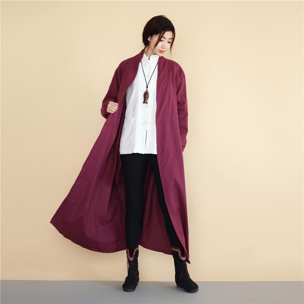 pourpre Manteau Nouvelle Printemps Linge Rétro Coton Tranchée rouge longue De Chinois Femmes Lin Pour Arrivée 2018 D448 X 100 Bleu Style Et Vêtements 1U5qq4