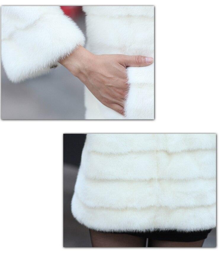 Montant Manteau Femme Femmes Faux Long Plus Artificielle Strass Mode Black Blanches Veste Vison Bouton Col De Fourrure white 4gRqR1vn