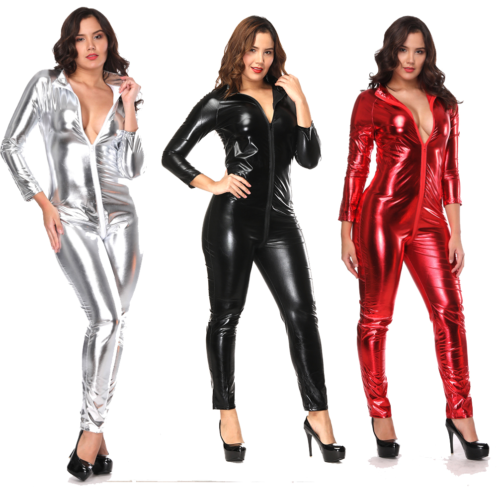 074b2425459 Shiny Black Red Silver Sexy Leather Bodysuit Plus Size Wetlook Jumpsuit  Spandex Catsuit Open Crotch Lingerie Clubwear Costume
