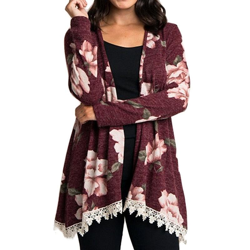 Autumn Floral Long Sleeve Women Cardigan 2018 Casual Elegant Lace Ladies Cardigan Vintage Slim Outwear Top Plus Size Sweater