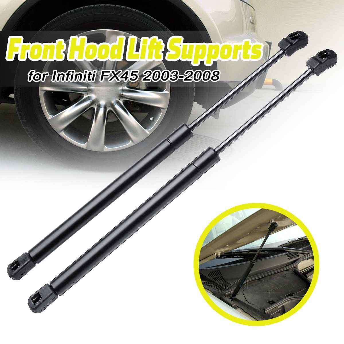 Pair of 2 Front Hood Gas Charged Lift Support Shocks For Lexus ES350 07 to 14