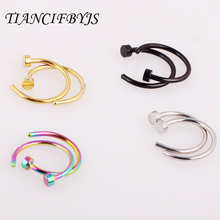 2pcs Body Ring Fake Piercing Jewelry 7 Colors Women Nostril Nose Hoop Stainless Steel Nose Rings clip on nose Body Jewelry