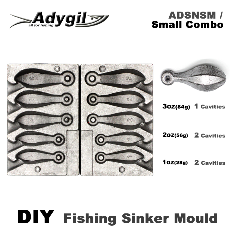 Adygil DIY Fishing Snapper Sinker Mould ADSNSM/Small Combo Snapper Sinker 28g 56g 84g 5 Cavities