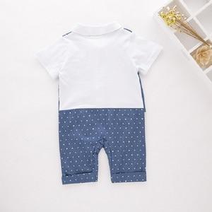 Image 3 - Blue Dot Baby Boys Rompers Tuxedo Gentleman Costume Baby Jumpsuits Jacket Vest Cotton Boy Clothes Outfits Newborn Evening Dress