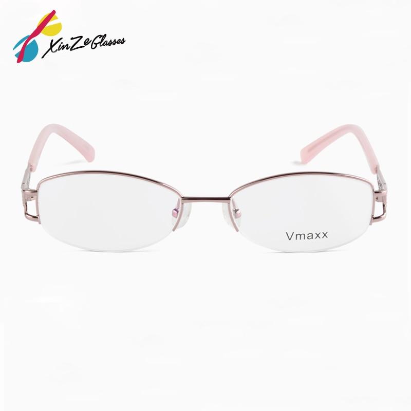 Памет за пристигане Титанови очила Половин кадър Оптични очила Рамка за жени Ретро Полу рамки очила Рецепта Оптични рамки