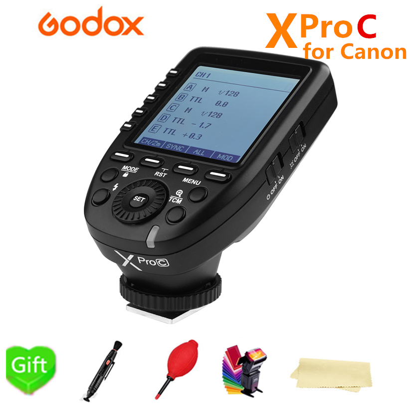 Godox Xpro-C Trigger 2.4G Wireless HSS E-TTL flash Transmitter For Canon 1300d 6d 1100d 60d 1000D 7D 650D 70D 700D Camera flash trigger transmitter e ttl ii 2 4g wireless for canon eos 7d markii 7d 6d 80d 70d 60d 50d 40d 30d 750d 760d 700d 650d