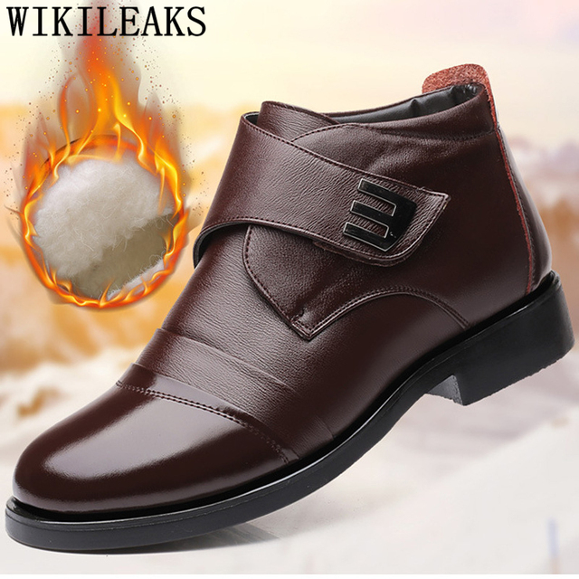 online store 35c9d 11024 US $12.13 49% OFF|dad shoes men genuine leather boots men snow boots warm  winter boots men bota masculina lakschoenen mannen winter schuhe herren-in  ...