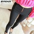 2016 Outono Nova Moda Das Mulheres 4 botões de Tecido Elástico Calças Lápis Feminino Legging Skinny Slim Leggings Calças Mulheres Preto Branco